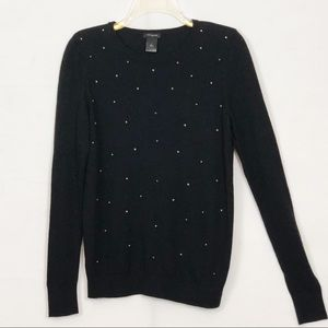 Ann Taylor Black Long Sleeve Sweater Beaded Front